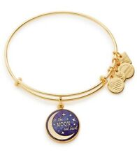 New Alex And Ani Stellar Love Expandable Bracelet Wire Bangle Moon Star Gold