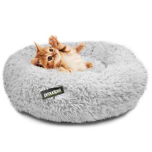 Large Cat Donut Grey Plush Pet Kitten Puppy Dog Round Nest Bed Fluffy Doughnut