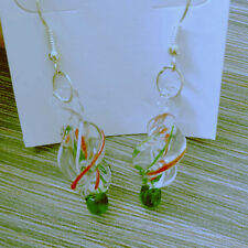 Women Elegant Silver plated Art Lampwork Murano Glass Dangles Earrings One Pair