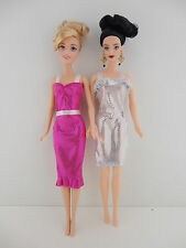 A Set of 2 Metallic Cocktail Dresses in Pink and Silver Made to Fit the Barbie D