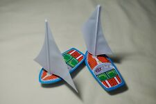 """Two Vintage Sanko Tin Toy Metal New 4"""" Mini Yacht Boat Board Made in Japan"""