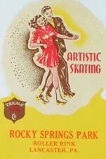 1930's-50's Rocky Springs Park Lancaster, PA Roller Skating Luggage Label B1