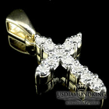 Round Mini Cross Pendant Charm .15Ct 10K Yellow Gold Finish Women Ladies Diamond