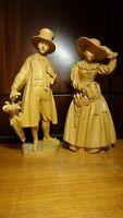 "VINTAGE 10"" ANRI WOOD CARVED CARVING MAN & WOMAN IN OLD GROEDNER COSTUME STATUE"