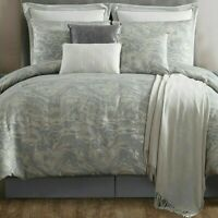 10 Piece King Size Comforter Set Cosmo Jacquard GREY Silver $360 NEW VCNY Home
