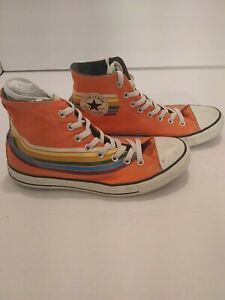CONVERSE PRE OWNED Orange Striped CHUCK TAYLOR ALL STAR HIGH TOP  Men's 9/W11