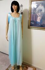 LUCIE ANN vintage Nylon SEAFOAM Grand Sweep Banded Sleeve Nightgown size L large