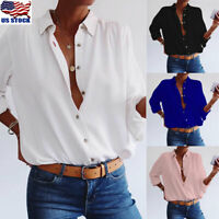 OL Women Button Down Long Sleeve T Shirt Tops Loose V Neck Solid Blouse Tops Tee