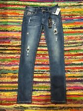 45391bd9c94 Soundgirl Distressed Bohemian Stitch Slim Jeans Womens Juniors Size 1 - New!