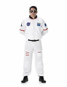 Mens Astronaut Costume NASA Spaceman Space Suit Fancy Dress Outfit