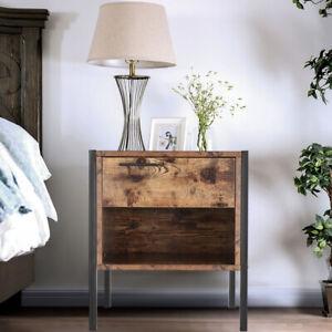 Rustic Wood Effect Bedside Table Cabinet Storage Drawer Shelf Bedroom Nightstand