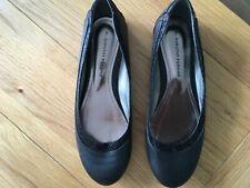 Dorothy Perkins black faux leather flat pumps, size 7