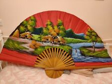More details for extra large hand-painted wall fan oriental pink