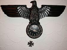Adler.Wanduhr.Design.Deko.Antik.Reichsadler.1944.Lorbeerkranz.Military.Pendeluhr