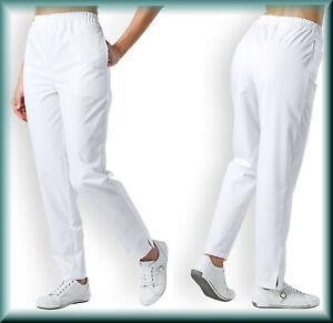 White Scrub Trousers NHS Doctors Medical Nurse Salon Hospitality Healthcare Spa