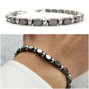 Bracciale da uomo in acciaio inox ematite braccialetto con pepite pietre dure