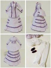 Antique French Fashion Jumeau Doll Ensemble 1870's Lavender Dress Bustle Shoes