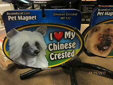 I Love My Chinese Crested 6 inch oval magnet for car or anything metal New