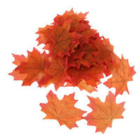 100Pcs Artificial Fall Autumn Maple Leaf Silk Leaves Wedding Garden Decor Orange