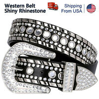 "2021 Rhinestone Western Cowgirl Bling Studded Design Leather Belt 1-1/2"" Wide"