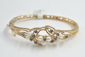 14 kt yellow gold Pearl Sapphire Bracelet Great Gift Sale
