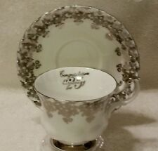 Royal Albert Silver 25th Anniversary Cabuchon Roses Montrose Style Cup & Saucer