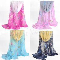Fashion Butterfly Girls Women Long Soft Wrap Lady Shawl Silk Chiffon Scarf New