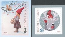 Finland 2016 MNH Set of 2 Stamps - Christmas - Snow - Reindeer - Elves  Squirrel