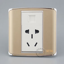 Wall Plate RJ45 Cat6 Network & Five Hole Power Socket Champagne Panel Faceplate