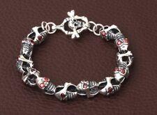 925 Sterling Silver  skull biker retro bracelet jewelry S945