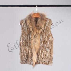 Real Rabbit Fur Vest Knitted Gilet Pocket Raccoon Fur Collar Waistcoat Wholesale