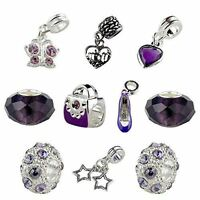 Set of 10 Purple Mother Charms & Beads, Mom Charm, Heart Charm, Shoe Charm, Purs