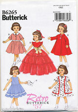 "BUTTERICK SEWING PATTERN 6265 RETRO '57 18"" DOLL CLOTHES, DRESSES, JACKET & COAT"