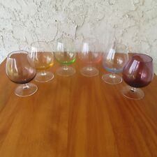 """Vintage Sussmuth Crystal Brandy Glasses Multicolored 4"""" Tall Hand Made Set of 6"""