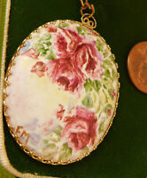 """Hand Painted Cameo Purple Rose Flower Pendant 26"""" Gold tone Chain Necklace 8b 69"""
