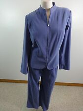 JM COLLECTION WOMENS PURPLE SUEDED POLYESTER PANT SUIT SIZE 6 / 12