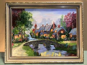 Initialed A B Titled Gingerbread House Framed Oil Painting