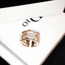 18K Rose Gold Plated Geo Diamante Crystal Adjustable Ring