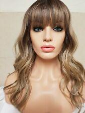 Silver Ash Blonde Grey Human Hair Wig long bangs fringe