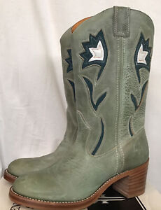 frye boots Green Leather Teal And White Cowboy Boot NWB Size 9 1/2
