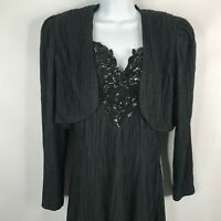 Vtg 80s David Rose Black Beaded Crinkle Chiffon Cocktail Dress Jacket Set Sz 12