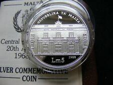 More details for malta lm5 1988 20th anniversary silver proof case +coa r898