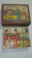 VINTAGE GERMANY MOSAIC BRICKS CUBES WOODEN SET PREWAR TOY FIGURINE CRAFTSMAN