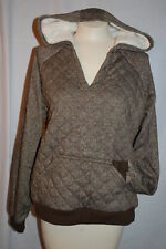 Womens Jacket ARMY OLIVE GREEN SPECKLE V-Neck QUILTED PULLOVER Sherpa Hood M