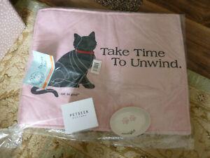 Brand new canvas/Sherpa cat mat, china dish and a flashing, moving ball.