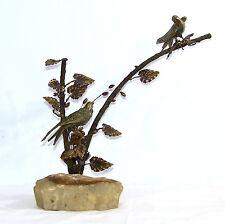 Vintage Mid Century Modern Curtis Jere  Bird Tree Bronze & Onyx Sculpture
