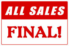 """ALL SALES FINAL 12""""x8"""" BUSINESS STORE RETAIL COUNTER SIGN"""