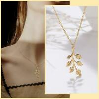Fashion Simple Leaf Gold Pendant Necklace Choker Clavicle Chain Lady Jewelry