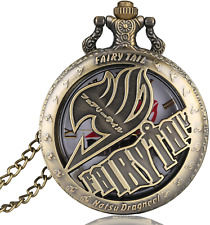 More details for vintage animate fairy tail pattern gift pocket watch hollow natus dragneel