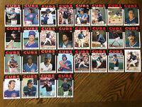 1986 CHICAGO CUBS Topps COMPLETE Baseball Team Set 28 Cards SANDBERG ECKERSLEY!